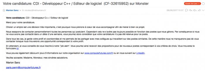 candidature par email
