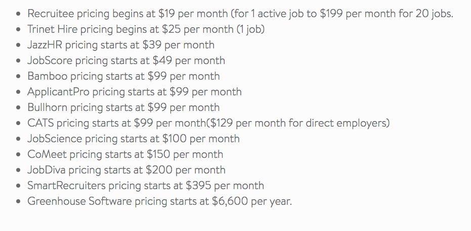 Liste prix ATS logiciel de recrutement