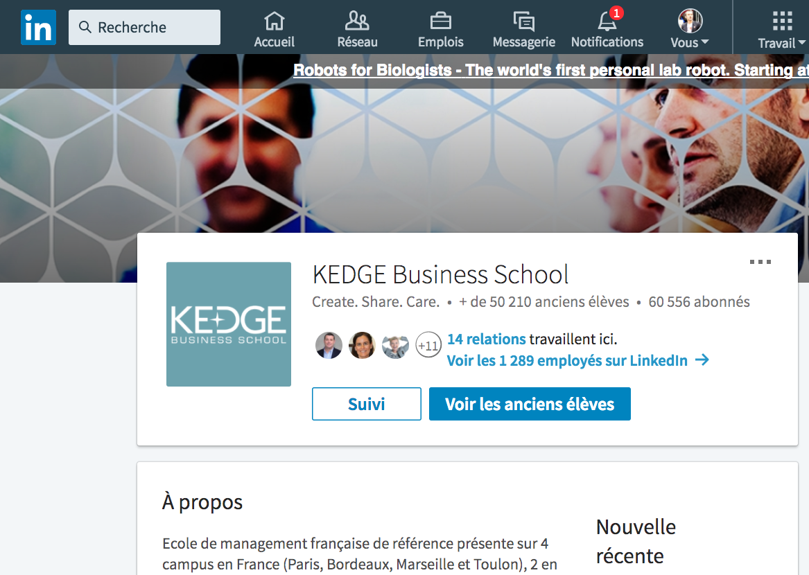 linkedin universite sourcing