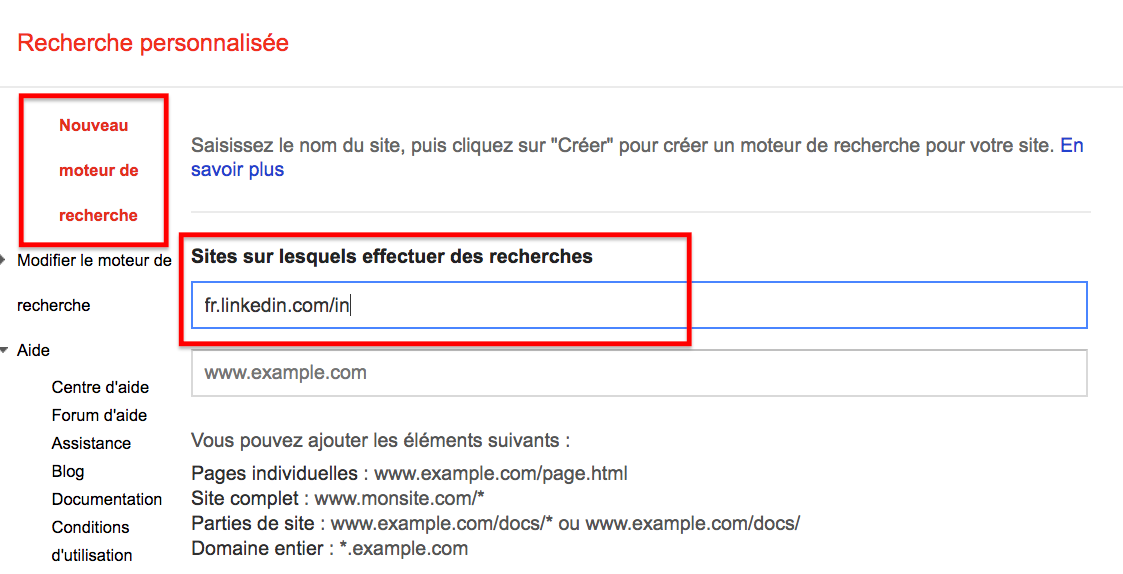 Google CSE recrutement sourcing