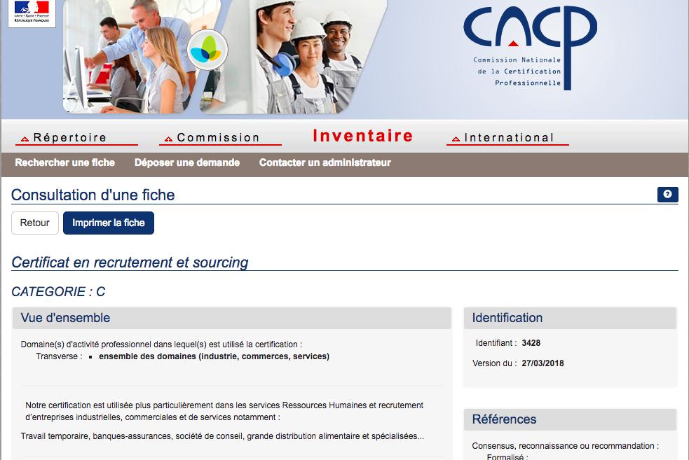 rncp inventaire certificat en recrutement et sourcing