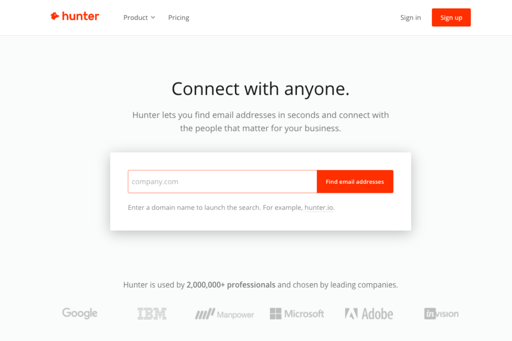 hunter outil pour trouver email adresse mail